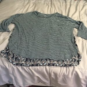 Loft Mixed fabric top